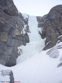Upper section of Bourgeau Left ice climb above the Sunshine parking lot.