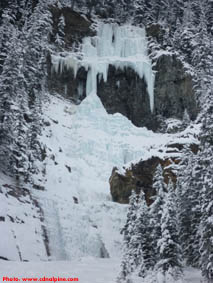 Louise Falls ice climb in early season conditions.