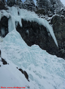Upper pitches of Louise Falls ice climb above Lake Louise