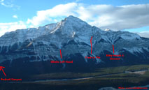 ice climbs on Mount Elliot near Nordegg, Alberta