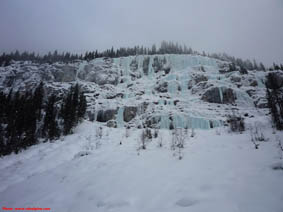 The farside ice climbing area on the Yoho Valley road.