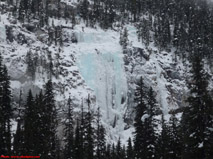 Iron Curtain & Peristroika ice climbs on the Yoho Valley road near Field, British Columbia.