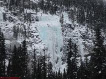 Iron Curtain & Peristroika ice climbs on the Yoho Valley road near Field, British Columbia.