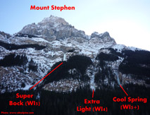 overview of Mt Stephen ice climbs.
