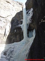 Rainbow Serpent ice climb in the Ghost River.