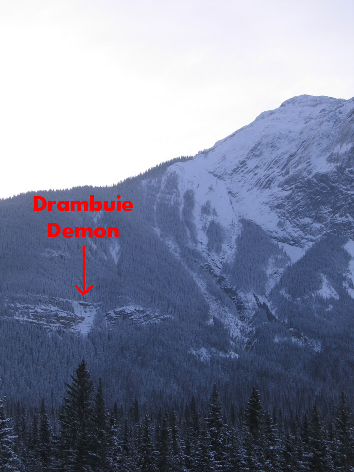 Drambuie Demon ice climb as seen from the highway.