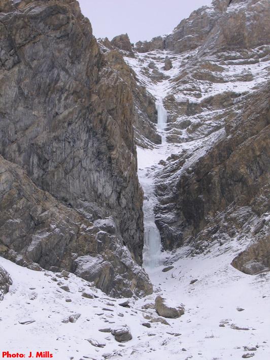 shades of ugly ice climb near Jasper, Alberta