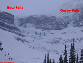 Bow Falls and Gorby Falls ice climbs
