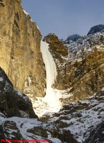 Cosmic Messenger ice climb on Mt. Murchison, Alberta