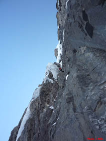 ice climber on mixed pitch of French Reality at the Stanley Headwall